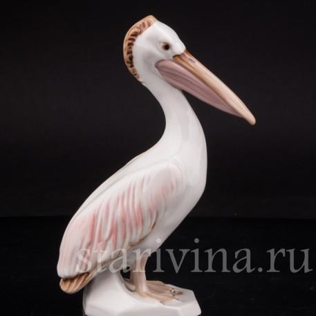 Фарфоровая статуэтка птицы Пеликан, Royal Dux, Чехия, 1960-78 гг.