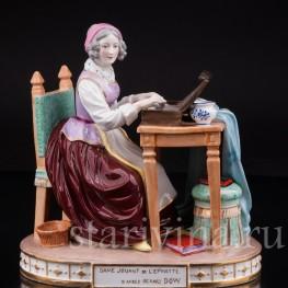 Антикварная фарфоровая статуэтка Дама за клавикордом, Франция, 19 в.
