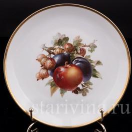 Декоративная фарфоровая тарелка Яблоко, сливы и крыжовник, Rosenthal, Германия, 1920 гг.